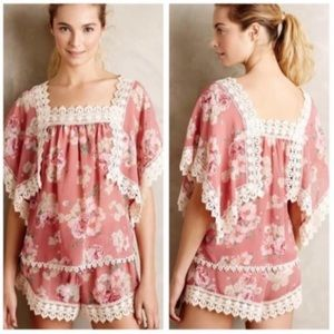Anthropologie Eloise Sheer Pink Floral Lace Top S